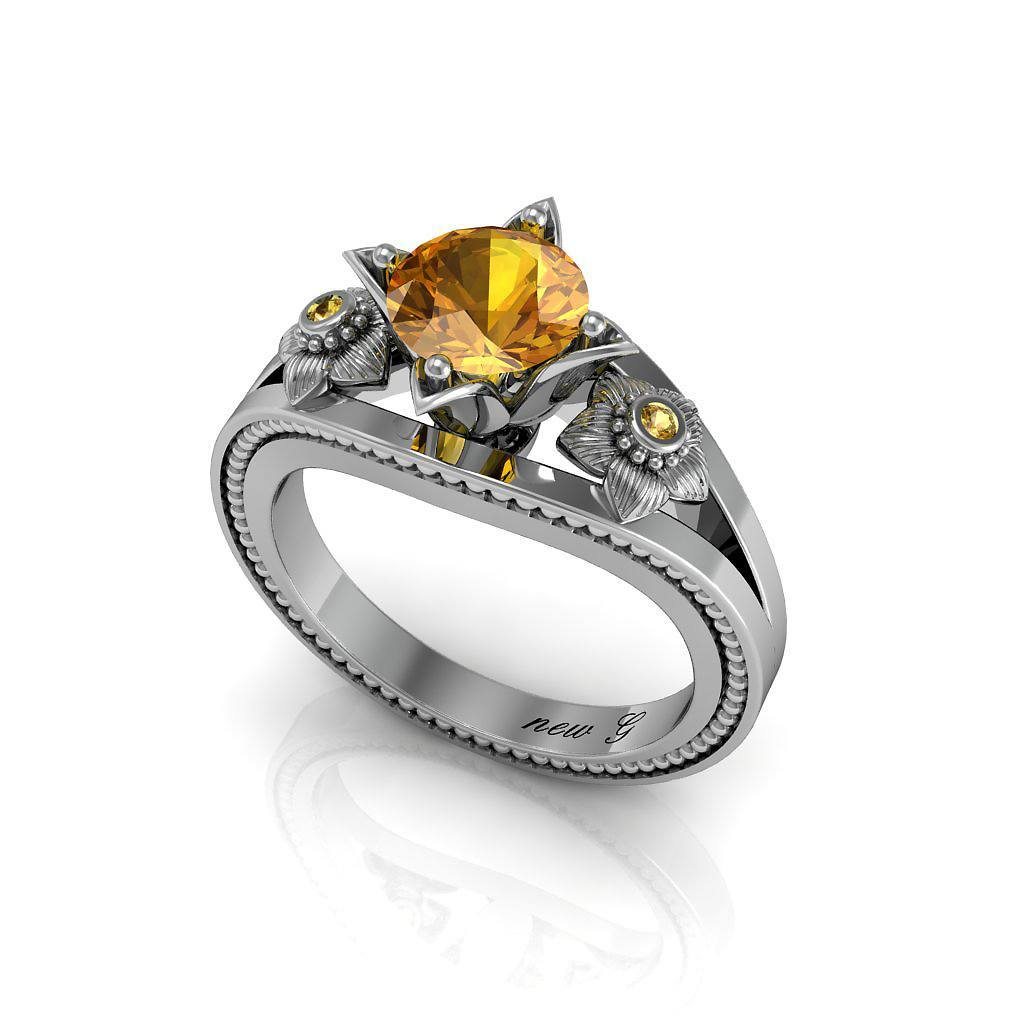Naissance Or Jaune 1 00 CT  TW  Topaz 14K Gold Engagement