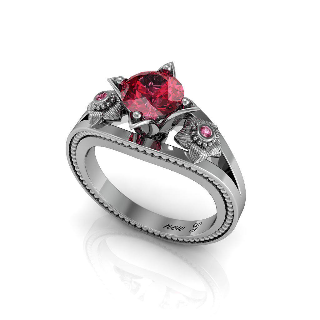 Naissane Rubis 1.00 CT. TW. Ruby 14K Gold Engagement Ring