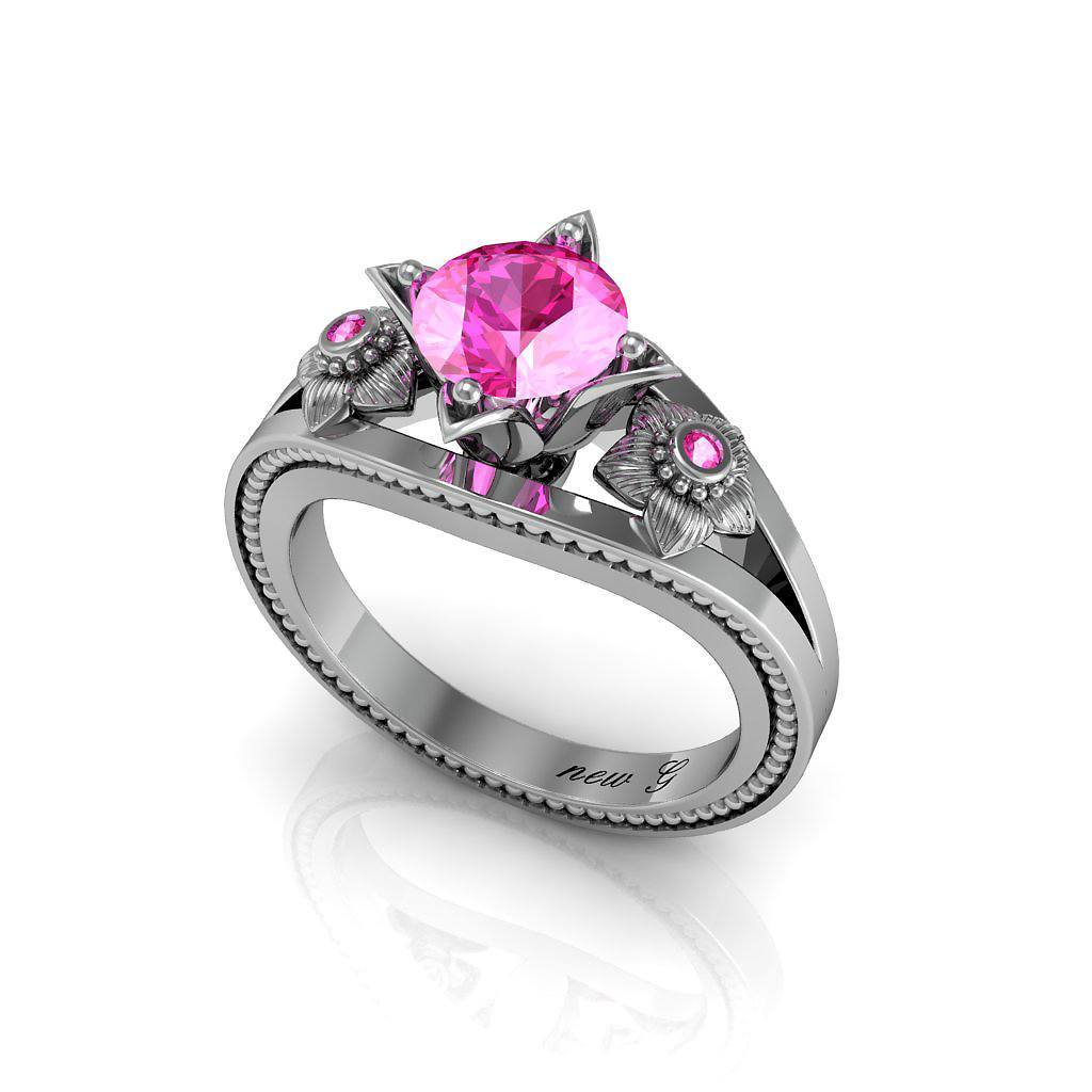 Naissance Rose 1.00 CT. TW. Pink Tourmaline 14K Gold Engagement Ring
