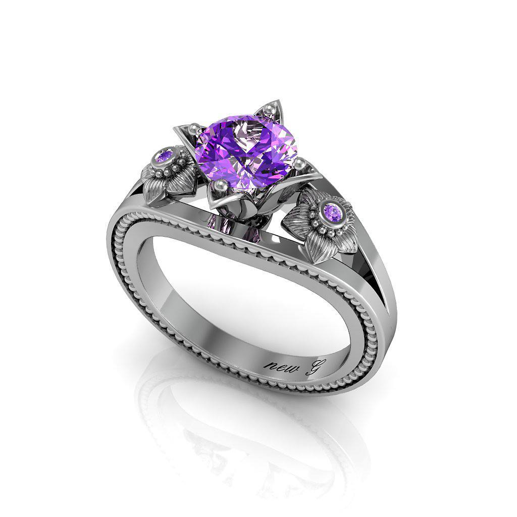 Naissance Améthyste 1.00 CT. TW. Amethyst 14K Gold Engagement Ring