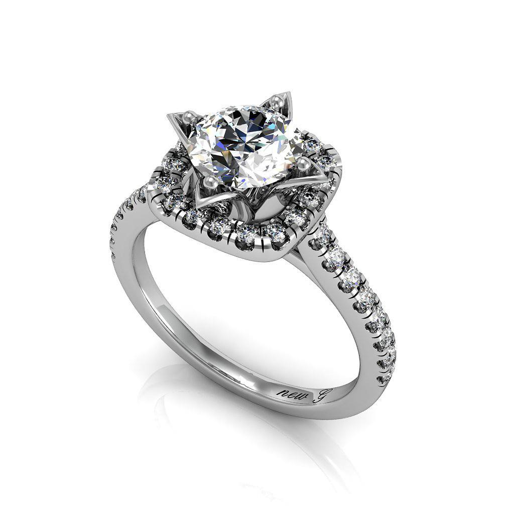 Helena 14K Gold Engagement Ring With 1.00 CT. TW. White Sapphire Solitaire And Diamond Accents