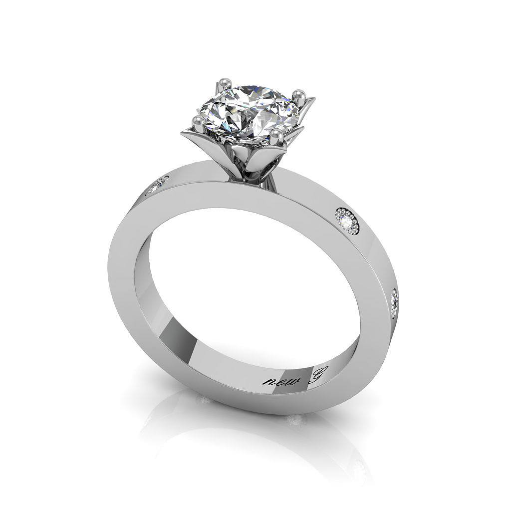 The Celeste 0.20 CT. TW. Moissanite And Diamond 14k White Gold Engagement Ring