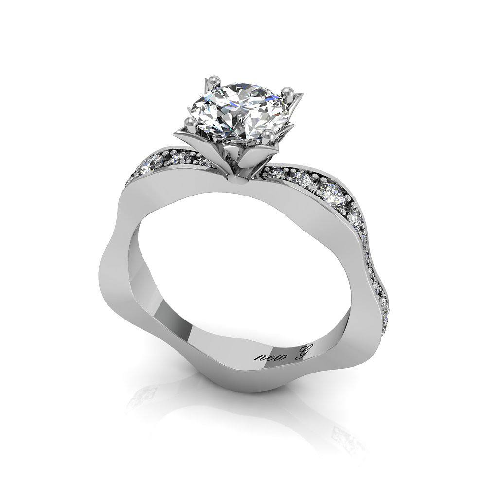 The Alicia 0.50 CT. TW. Moissanite And Diamond 14k White Gold Engagement Ring