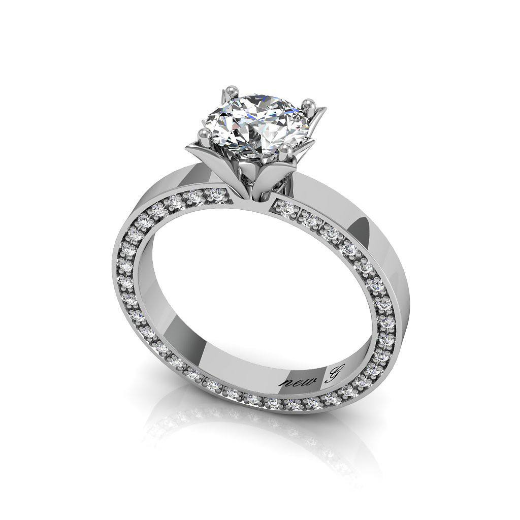 The Graziella 0.40 CT. TW. Moissanite And Diamond 14k White Gold Engagement Ring