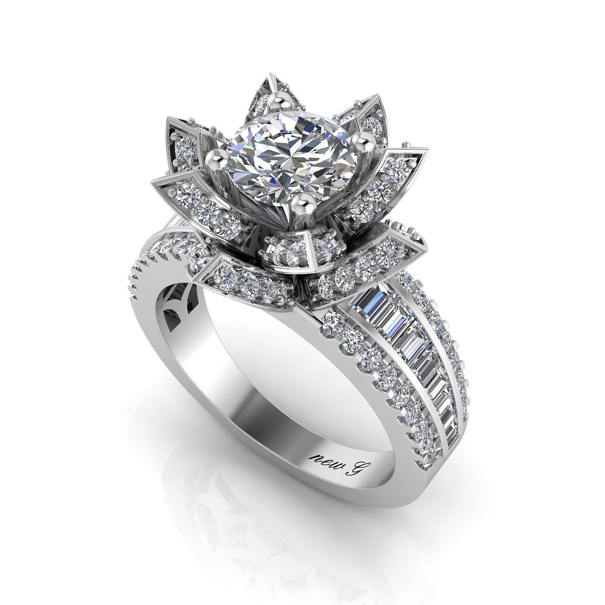 Lotus 100 ct tw 14k diamond engagement ring ng jewelry izmirmasajfo
