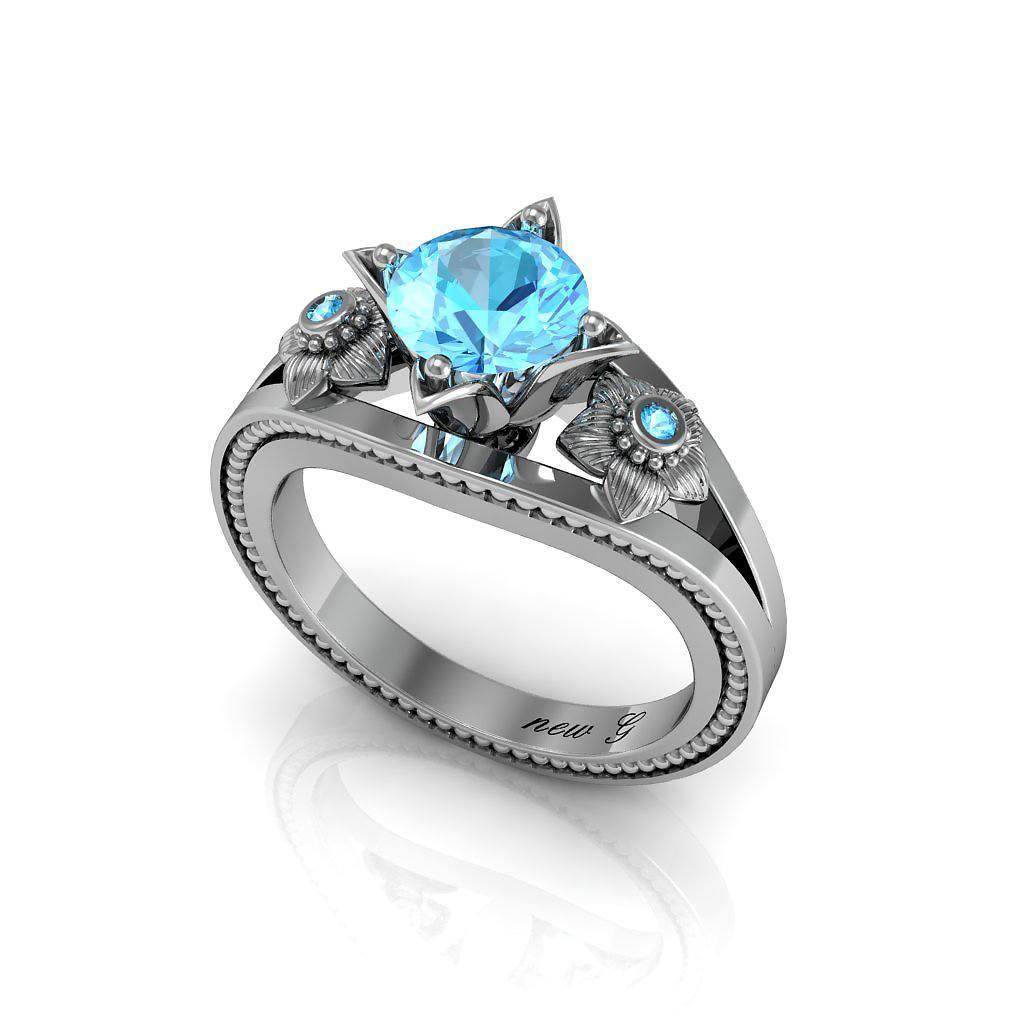 Naissance Récif De Corail 1.00 CT. TW. Aquamarine 14K Gold Engagement Ring