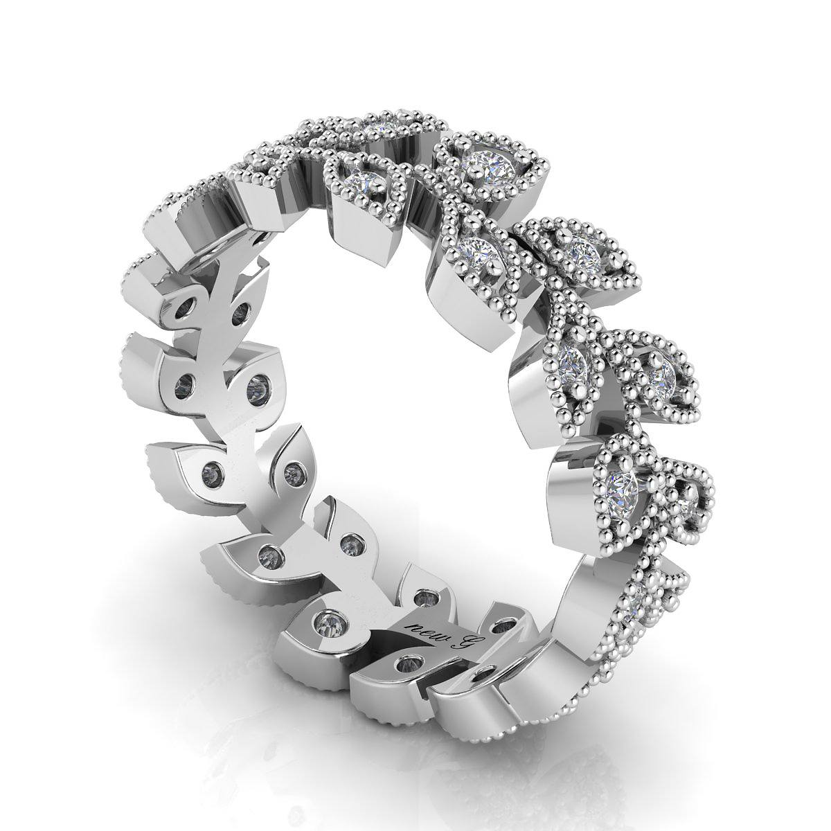 The Jeweled Vine 0 45 CT TW 14K Diamond Wedding Band