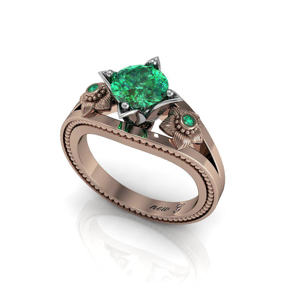 Naissance Emeraude 1 00 CT TW Emerald 14K Gold Engagement Ring