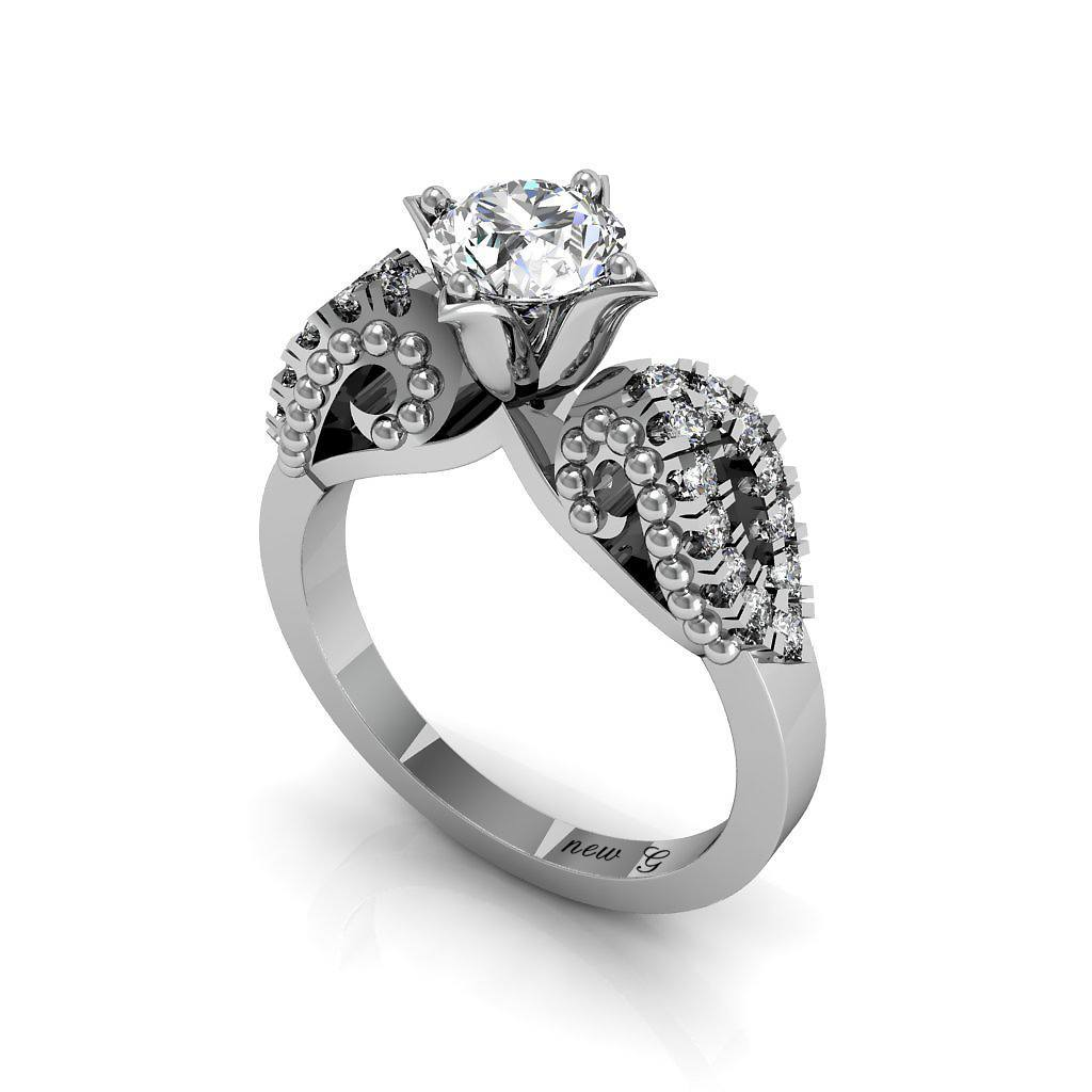 Lily Of Love 1.00 CT. TW. White Sapphire 14K Gold Engagement Ring