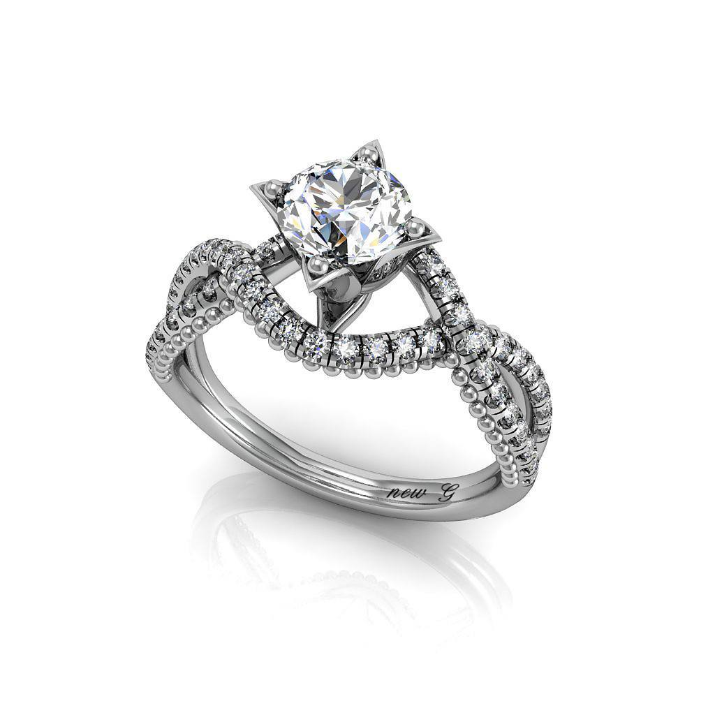 Paths Of Love 1.00 CT. TW. White Sapphire And 14K Gold Diamond Engagement Ring