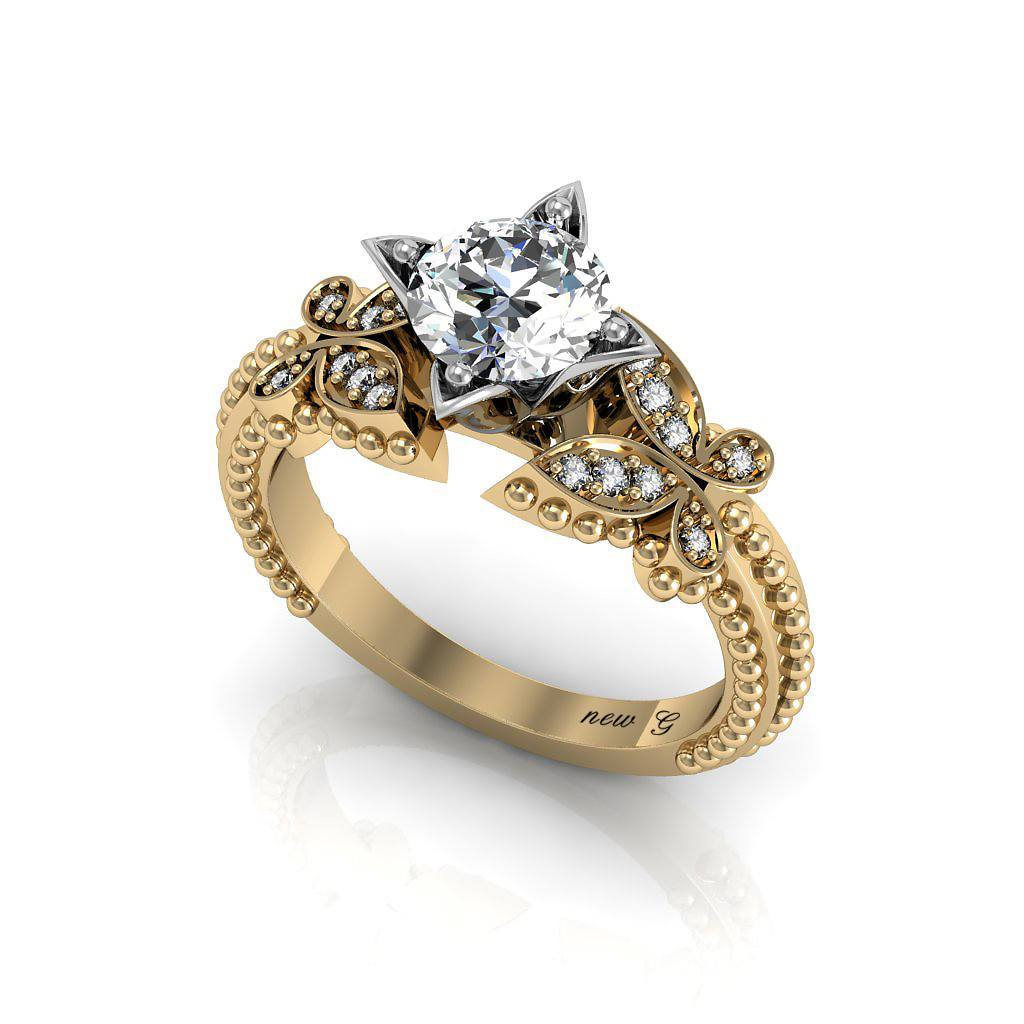 Monarch 1 00 Ct Tw White Sapphire 14k Gold Promise Ring