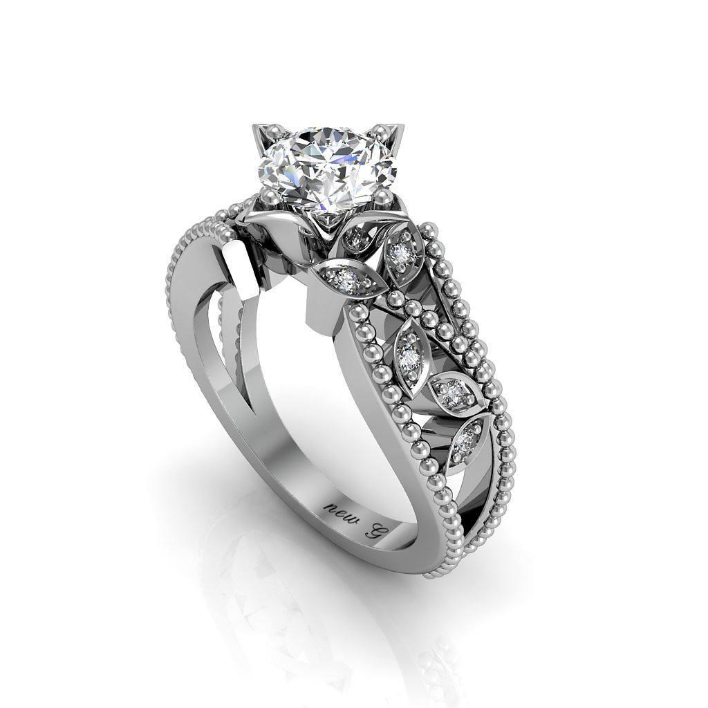 Fleur Et Vin 1.00 CT. TW. Sapphire And Diamonds, 14K Gold Engagement Ring
