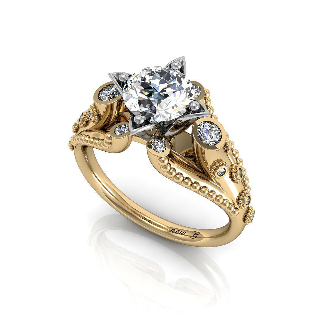 The Golden Trumpet, 1.00 CT. TW. White Sapphire And Diamond 14K Gold Engagement Ring