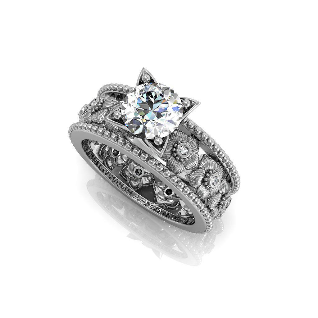 Diamond Lilies And 1.00 CT. TW. White Sapphire 14K Gold Engagement Ring