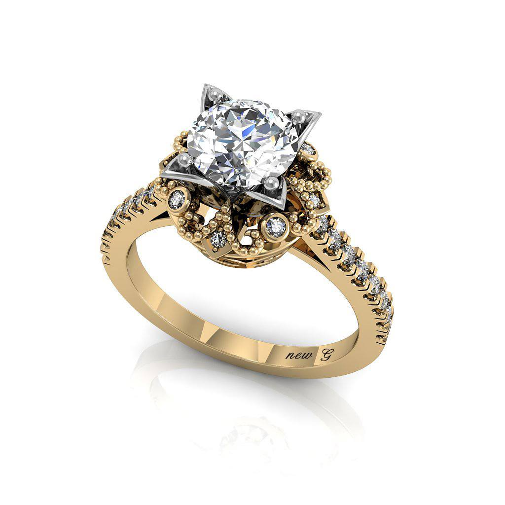 The Baroness 1.00 CT. TW. White Sapphire 14K Gold And Diamond Engagement Ring