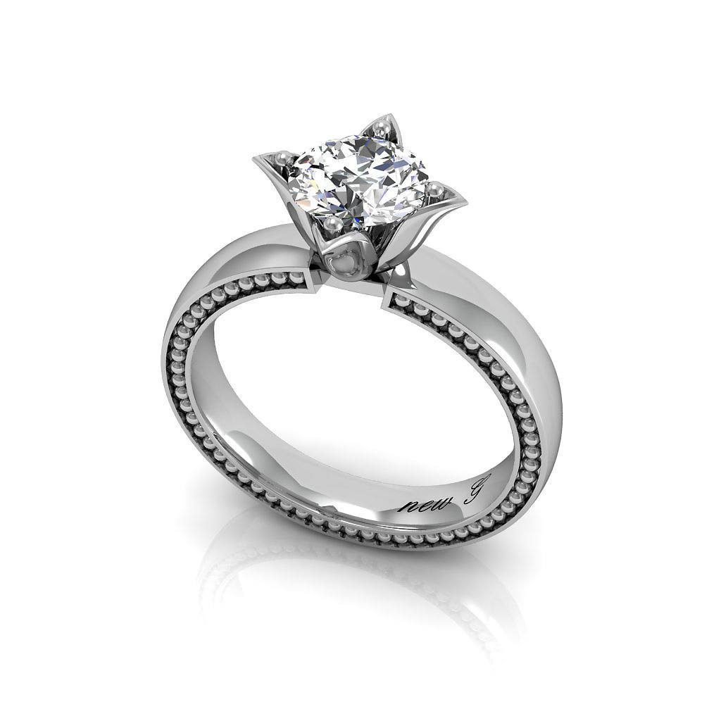 The Serene Classic Solitaire 14K Gold Engagement Ring With 1.00 CT. TW. White Sapphire
