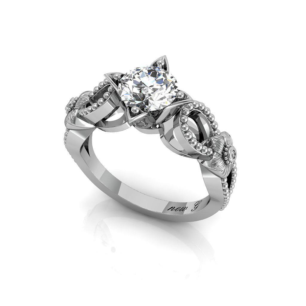 The Grandeza 1.00 CT. TW. White Sapphire 14K Gold Engagement Ring