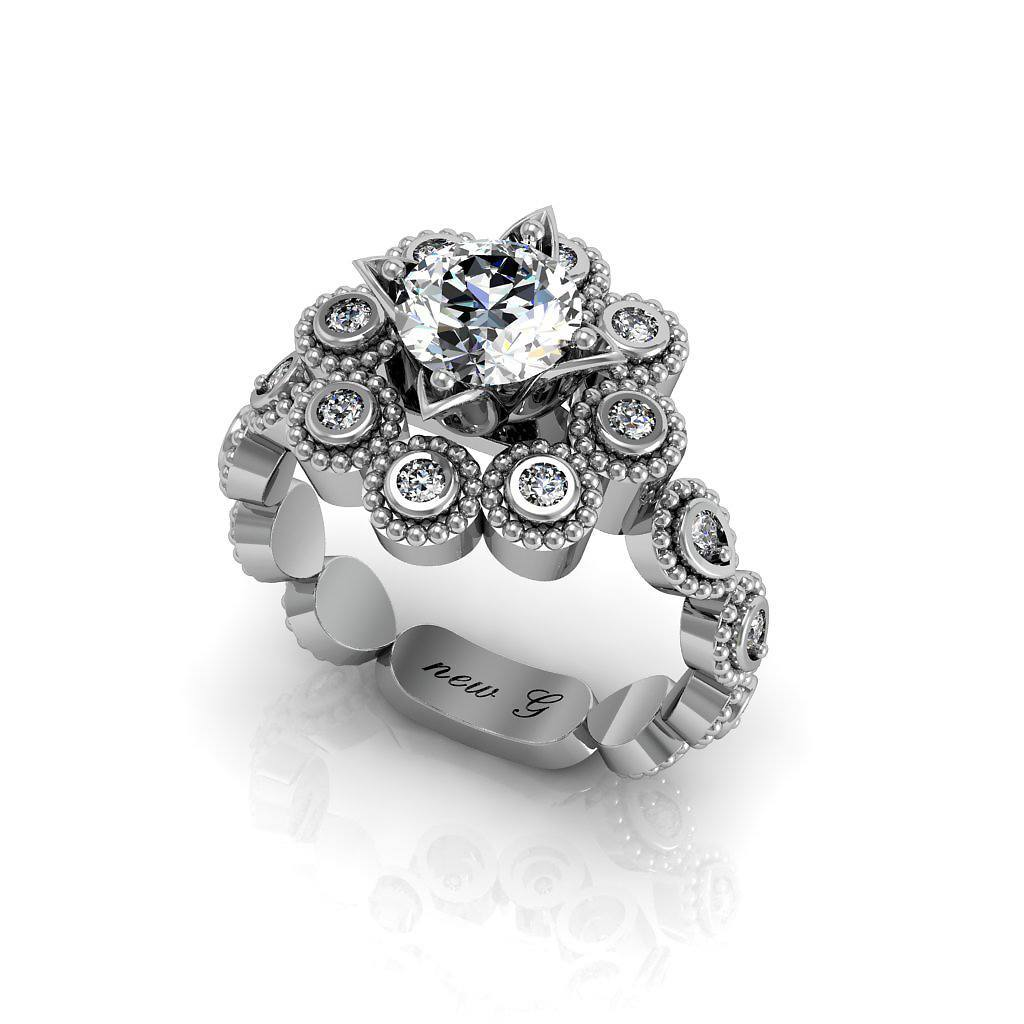 The Octavianne 1.00 CT. TW. White Sapphire 14K Gold And Diamond Engagement Ring
