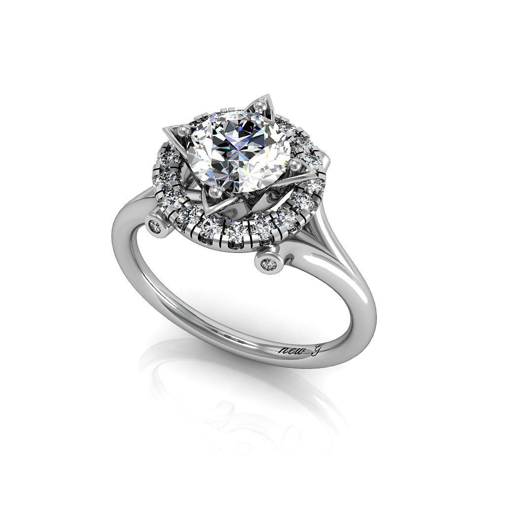 The Angelis 1.00 CT. TW. White Sapphire 14K Gold Engagement Ring