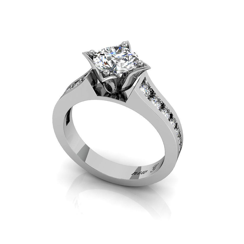 The Valiant Classic 14K Gold, 1.00 CT. TW. White Sapphire Engagement Ring