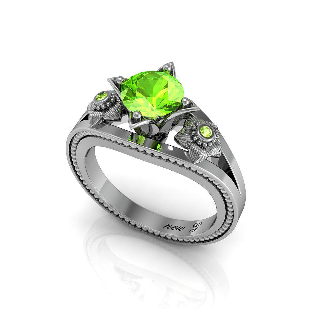 Naissance Olive 1.00 CT. TW. Peridot 14K Gold Engagement Ring