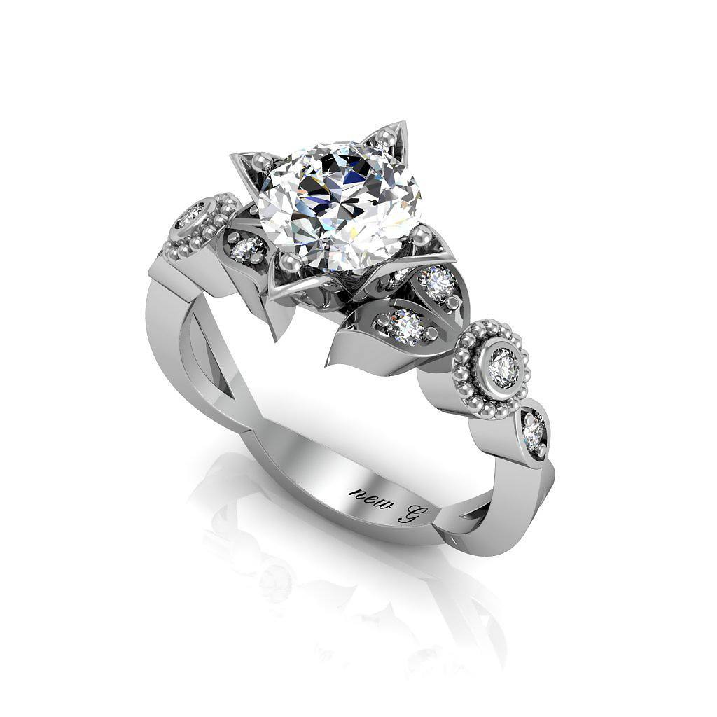Anam Cara Contemporary 1.00 CT. TW. White Sapphire 14K Gold Engagement Ring