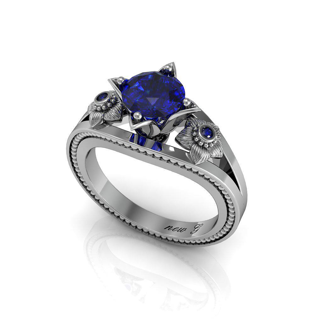 Naissance Saphir 1.00 CT. TW. Sapphire 14K Gold Engagement Ring